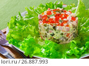Купить «portion of classic olivier salad with pickles, sausages and vegetables», фото № 26887993, снято 12 июня 2019 г. (c) Oksana Zh / Фотобанк Лори