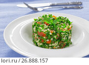 Купить «delicious tabbouleh or parsley, peppermint, spring onion, tomato salad», фото № 26888157, снято 18 января 2019 г. (c) Oksana Zh / Фотобанк Лори