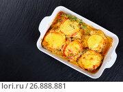 Купить «meat chops layered with vegetables and cheese», фото № 26888881, снято 28 апреля 2017 г. (c) Oksana Zh / Фотобанк Лори