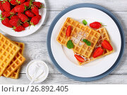Купить «Belgian waffles with strawberries», фото № 26892405, снято 13 июня 2017 г. (c) Oksana Zh / Фотобанк Лори