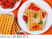Купить «Belgian waffles with strawberries», фото № 26892413, снято 13 июня 2017 г. (c) Oksana Zh / Фотобанк Лори