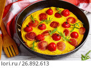 Купить «quick and easy breakfast- omelette with sausages», фото № 26892613, снято 24 июня 2017 г. (c) Oksana Zh / Фотобанк Лори
