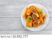 Купить «Crepes filled with minced Meat and liver», фото № 26892777, снято 5 июля 2017 г. (c) Oksana Zh / Фотобанк Лори