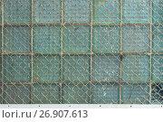 Купить «Background from the metal gauze of the chain-link and glass blocks», фото № 26907613, снято 9 сентября 2017 г. (c) Anatoly Timofeev / Фотобанк Лори