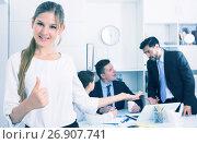 Купить «Business woman showing thumbs up», фото № 26907741, снято 24 февраля 2019 г. (c) Яков Филимонов / Фотобанк Лори
