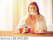 Купить «sick woman with medicine blowing nose to wipe», фото № 26910281, снято 13 октября 2016 г. (c) Syda Productions / Фотобанк Лори