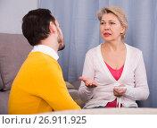 Купить «Mother and son arguing», фото № 26911925, снято 19 марта 2019 г. (c) Яков Филимонов / Фотобанк Лори