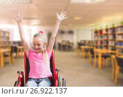 Купить «Disabled girl in wheelchair in school library», фото № 26922137, снято 20 октября 2019 г. (c) Wavebreak Media / Фотобанк Лори