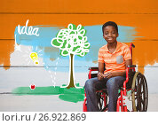Купить «Disabled boy in wheelchair with idea colorful drawings», фото № 26922869, снято 16 июля 2019 г. (c) Wavebreak Media / Фотобанк Лори
