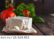 Купить «cheese feta-brynza and fresh vegetables, lettuce, tomato, cucumber, pepper on a wooden background in daylight», фото № 26924453, снято 23 августа 2017 г. (c) Tetiana Chugunova / Фотобанк Лори