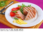 Купить «tasty grilled tuna steak with strips», фото № 26928453, снято 19 декабря 2018 г. (c) Oksana Zh / Фотобанк Лори