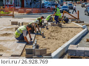 Гастарбайтеры кладут тротуарную плитку (2017 год). Редакционное фото, фотограф Акиньшин Владимир / Фотобанк Лори