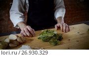 Купить «The chef putting green leaves of basil on a wood cutting board in a kitchen. 4K», видеоролик № 26930329, снято 31 июля 2017 г. (c) ActionStore / Фотобанк Лори