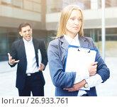 Купить «Sad woman is upset with the reprimand for the results of the financial report», фото № 26933761, снято 20 августа 2017 г. (c) Яков Филимонов / Фотобанк Лори