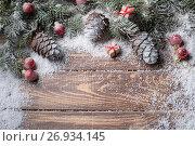 Купить «Christmas background on wooden», фото № 26934145, снято 13 сентября 2017 г. (c) Типляшина Евгения / Фотобанк Лори