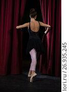 Купить «Ballerina performing ballet dance on stage», фото № 26935245, снято 20 апреля 2017 г. (c) Wavebreak Media / Фотобанк Лори