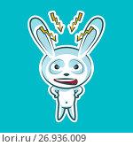 Sticker emoji emoticon, emotion swear, angry, lightning, vector isolated illustration character sweet, cute white rabbit, bunny, hare, coney, cony, lapin for happy Easter. Стоковая иллюстрация, иллюстратор Maryna Bolsunova / Фотобанк Лори