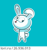 Sticker emoji emoticon, emotion what happens, hey, vector isolated illustration surprised character sweet, cute white rabbit, bunny, hare, coney, cony, lapin for happy Easter. Стоковая иллюстрация, иллюстратор Maryna Bolsunova / Фотобанк Лори