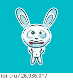 Sticker emoji emoticon, emotion nervous, tense, twitching eyes vector isolated illustration character sweet, cute white rabbit, bunny, hare, coney, cony, lapin for happy Easter. Стоковая иллюстрация, иллюстратор Maryna Bolsunova / Фотобанк Лори
