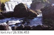 Panorama of mountain river with rapids and waterfalls, Iceland. Стоковое видео, видеограф Юлия Колтырина / Фотобанк Лори