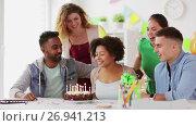 Купить «team greeting colleague at office birthday party», видеоролик № 26941213, снято 6 сентября 2017 г. (c) Syda Productions / Фотобанк Лори