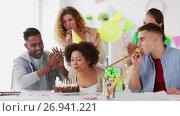 Купить «team greeting colleague at office birthday party», видеоролик № 26941221, снято 6 сентября 2017 г. (c) Syda Productions / Фотобанк Лори