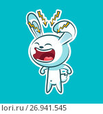 Sticker emoji emoticon emotion, scream with rage, lightning vector isolated illustration character sweet, cute white rabbit, bunny, hare, coney, cony, lapin for happy Easter. Стоковая иллюстрация, иллюстратор Maryna Bolsunova / Фотобанк Лори
