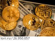 Купить «Золотые монеты криптовалюты Биткоин лежат на сто-долларовых купюрах», фото № 26950057, снято 16 сентября 2017 г. (c) Николай Винокуров / Фотобанк Лори