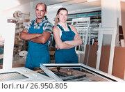 Купить «Portrait of brigade who are working at workshop», фото № 26950805, снято 19 июля 2017 г. (c) Яков Филимонов / Фотобанк Лори