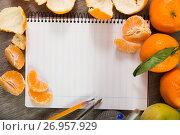 Купить «Notebook with writing utensils», фото № 26957929, снято 20 сентября 2018 г. (c) Яков Филимонов / Фотобанк Лори