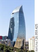 Купить «Baku, Azerbaijan - September 23, 2016: Flame Towers. Baku. Azerbaijan», фото № 26959425, снято 23 сентября 2016 г. (c) Евгений Ткачёв / Фотобанк Лори