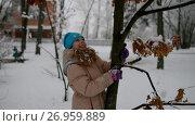 Купить «Little girl in warm jacket shakes snowy tree», видеоролик № 26959889, снято 16 августа 2017 г. (c) BestPhotoStudio / Фотобанк Лори