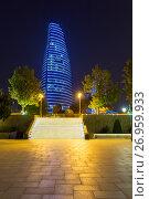 Baku, Azerbaijan - September 23, 2016: Night view on Flame Towers. Baku. Azerbaijan, фото № 26959933, снято 23 сентября 2016 г. (c) Евгений Ткачёв / Фотобанк Лори