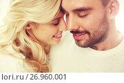 Купить «close up of happy couple faces with closed eyes», фото № 26960001, снято 8 октября 2015 г. (c) Syda Productions / Фотобанк Лори