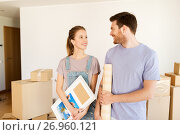 Купить «happy couple with boxes moving to new home», фото № 26960121, снято 4 июня 2017 г. (c) Syda Productions / Фотобанк Лори
