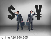Купить «Dollar or Yen with Businessman looking in opposite directions», фото № 26960505, снято 26 сентября 2018 г. (c) Wavebreak Media / Фотобанк Лори
