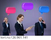 Купить «Business people on phones with shiny group of chat bubbles», фото № 26961141, снято 22 мая 2019 г. (c) Wavebreak Media / Фотобанк Лори