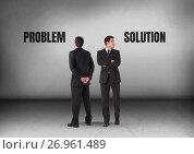 Купить «Problem or solution text with Businessman looking in opposite directions», фото № 26961489, снято 25 сентября 2018 г. (c) Wavebreak Media / Фотобанк Лори