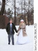 Купить «Жених и невеста гуляют в зимнем парке взявшись за руки», фото № 26964753, снято 26 февраля 2017 г. (c) Кекяляйнен Андрей / Фотобанк Лори