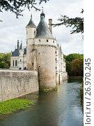 Замок Шенонсо (Château de Chenonceaux) осенним днем. Департамент Эндр и Луара. Франция (2017 год). Редакционное фото, фотограф E. O. / Фотобанк Лори