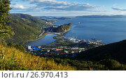 Панорама: город Петропавловск-Камчатский, Авачинская бухта, фото № 26970413, снято 5 сентября 2017 г. (c) А. А. Пирагис / Фотобанк Лори