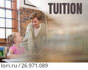 Купить «Tuition text and Librarian with elementary school student», фото № 26971089, снято 23 января 2019 г. (c) Wavebreak Media / Фотобанк Лори