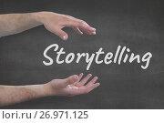 Купить «Hands interacting with storytelling business text against grey background», фото № 26971125, снято 20 ноября 2018 г. (c) Wavebreak Media / Фотобанк Лори
