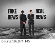 Купить «Fake news or real news text with Businessman looking in opposite directions», фото № 26971145, снято 17 августа 2018 г. (c) Wavebreak Media / Фотобанк Лори