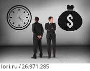 Купить «Money bag and clock time with Businessman looking in opposite directions», фото № 26971285, снято 21 июля 2018 г. (c) Wavebreak Media / Фотобанк Лори