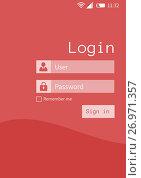 Купить «Login user and password screen interface», иллюстрация № 26971357 (c) Wavebreak Media / Фотобанк Лори