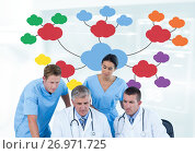 Купить «Group meeting of doctors and medical staff with mind map», фото № 26971725, снято 22 ноября 2018 г. (c) Wavebreak Media / Фотобанк Лори