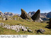 Купить «Giant rocks in Val di Gardena, Dolomites», фото № 26971997, снято 23 сентября 2014 г. (c) Надежда Болотина / Фотобанк Лори