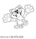 Купить «Милый щенок Акита Ину встал на задние лапы и вылизывает экран. Иллюстрация в мультипликационном стиле, контурный рисунок на белом фоне, раскраска», иллюстрация № 26972029 (c) Анастасия Некрасова / Фотобанк Лори