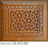 Купить «Traditional wood carving, Uzbekistan», фото № 26972081, снято 10 мая 2014 г. (c) Надежда Болотина / Фотобанк Лори